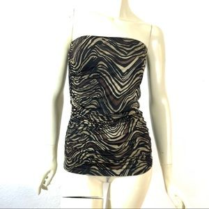 MNG  Suit Ruched  Body Hugging Strapless Top